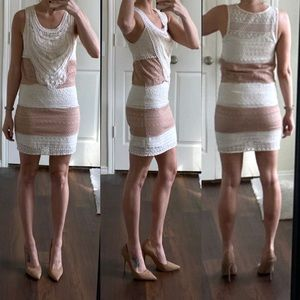 C. Luce ivory white dusty pink crochet lace dress